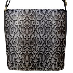 Patterns Wavy Background Texture Metal Silver Flap Messenger Bag (S)