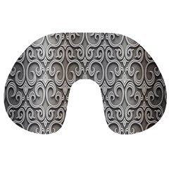 Patterns Wavy Background Texture Metal Silver Travel Neck Pillows