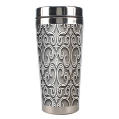Patterns Wavy Background Texture Metal Silver Stainless Steel Travel Tumblers