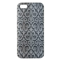 Patterns Wavy Background Texture Metal Silver iPhone 5S/ SE Premium Hardshell Case
