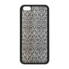 Patterns Wavy Background Texture Metal Silver Apple iPhone 5C Seamless Case (Black)