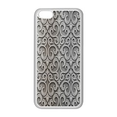Patterns Wavy Background Texture Metal Silver Apple Iphone 5c Seamless Case (white)