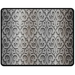 Patterns Wavy Background Texture Metal Silver Double Sided Fleece Blanket (Medium)