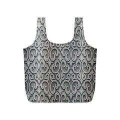 Patterns Wavy Background Texture Metal Silver Full Print Recycle Bags (S)
