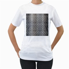 Patterns Wavy Background Texture Metal Silver Women s T-Shirt (White)