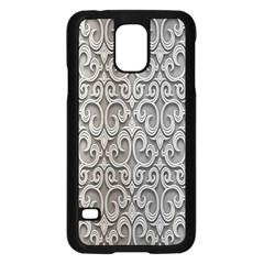 Patterns Wavy Background Texture Metal Silver Samsung Galaxy S5 Case (Black)