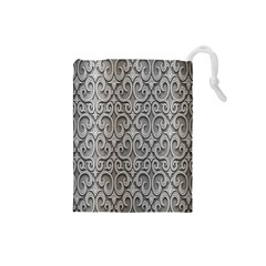 Patterns Wavy Background Texture Metal Silver Drawstring Pouches (Small)