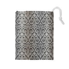 Patterns Wavy Background Texture Metal Silver Drawstring Pouches (Large)