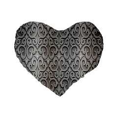 Patterns Wavy Background Texture Metal Silver Standard 16  Premium Flano Heart Shape Cushions