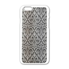 Patterns Wavy Background Texture Metal Silver Apple iPhone 6/6S White Enamel Case