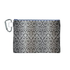 Patterns Wavy Background Texture Metal Silver Canvas Cosmetic Bag (M)