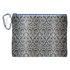 Patterns Wavy Background Texture Metal Silver Canvas Cosmetic Bag (XXL)