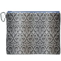 Patterns Wavy Background Texture Metal Silver Canvas Cosmetic Bag (XXXL)
