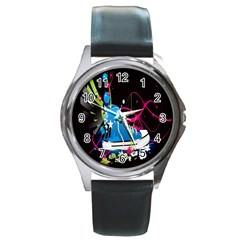 Sneakers Shoes Patterns Bright Round Metal Watch