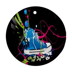 Sneakers Shoes Patterns Bright Ornament (Round)