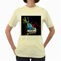 Sneakers Shoes Patterns Bright Women s Yellow T-Shirt
