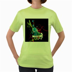 Sneakers Shoes Patterns Bright Women s Green T Shirt