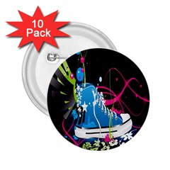 Sneakers Shoes Patterns Bright 2.25  Buttons (10 pack)