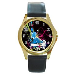 Sneakers Shoes Patterns Bright Round Gold Metal Watch