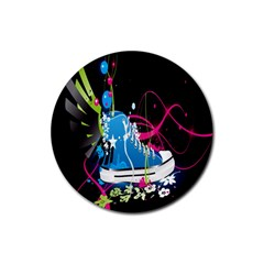 Sneakers Shoes Patterns Bright Rubber Coaster (round)