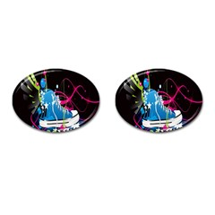Sneakers Shoes Patterns Bright Cufflinks (Oval)