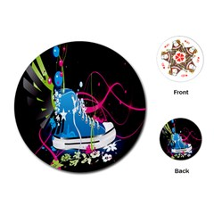 Sneakers Shoes Patterns Bright Playing Cards (round)