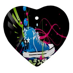 Sneakers Shoes Patterns Bright Heart Ornament (two Sides)
