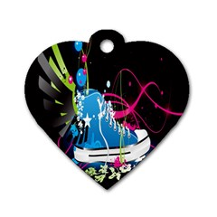 Sneakers Shoes Patterns Bright Dog Tag Heart (one Side)