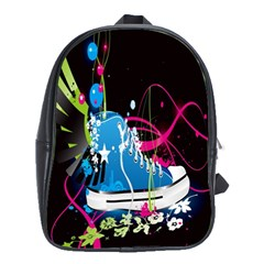 Sneakers Shoes Patterns Bright School Bags(Large)