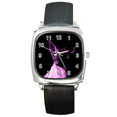 Pink Sphynx cat Square Metal Watch