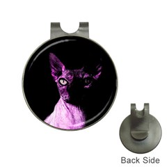 Pink Sphynx cat Hat Clips with Golf Markers