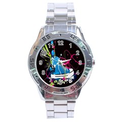 Sneakers Shoes Patterns Bright Stainless Steel Analogue Watch