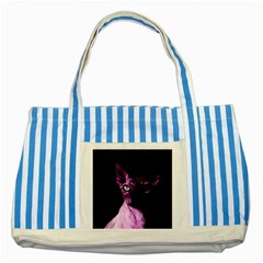 Pink Sphynx cat Striped Blue Tote Bag