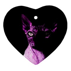 Pink Sphynx cat Heart Ornament (Two Sides)