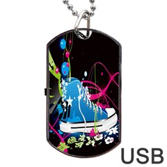 Sneakers Shoes Patterns Bright Dog Tag Usb Flash (two Sides)