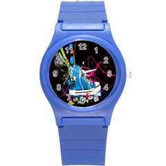 Sneakers Shoes Patterns Bright Round Plastic Sport Watch (S)
