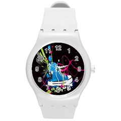 Sneakers Shoes Patterns Bright Round Plastic Sport Watch (M)