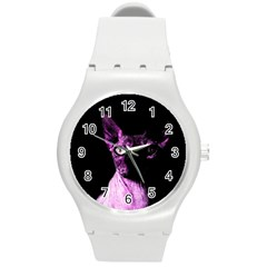 Pink Sphynx cat Round Plastic Sport Watch (M)
