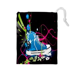 Sneakers Shoes Patterns Bright Drawstring Pouches (Large)