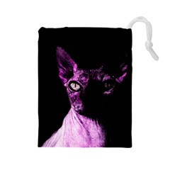 Pink Sphynx cat Drawstring Pouches (Large)