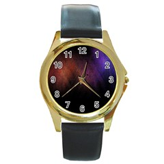 Point Light Luster Surface Round Gold Metal Watch