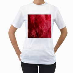 Red Background Texture Women s T-Shirt (White) (Two Sided)