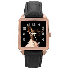 Sphynx cat Rose Gold Leather Watch