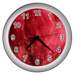 Red Background Texture Wall Clocks (Silver)