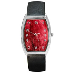 Red Background Texture Barrel Style Metal Watch