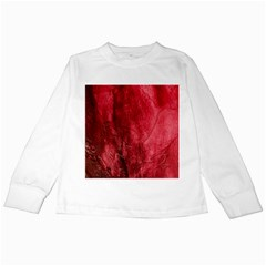 Red Background Texture Kids Long Sleeve T Shirts