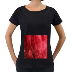 Red Background Texture Women s Loose-Fit T-Shirt (Black)