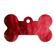 Red Background Texture Dog Tag Bone (one Side)