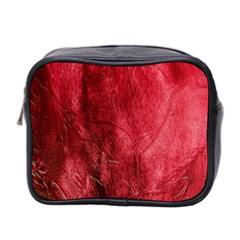 Red Background Texture Mini Toiletries Bag 2-Side
