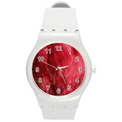 Red Background Texture Round Plastic Sport Watch (M)